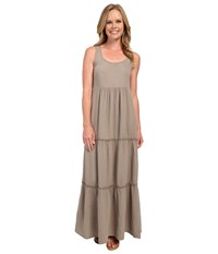 Dylan By True Grit Soft Gauzy Cotton Tiered Tank Maxi Dress Cargo Women's Dress Taupe