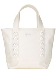 Muveil Faux Pearl Tote Bag White