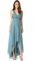 Monique Lhuillier Bridesmaids Tulle High Low Gown Vintage Teal