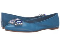 Massimo Matteo Flat With Ornament Royal Blue Women's Flat Shoes