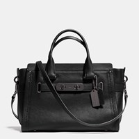 Coach Swagger Carryall In Nubuck Pebble Leather Matte Black Black