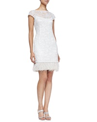 Kay Unger New York Lace Overlay Cocktail Dress W Feather Hem White