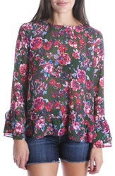 Kut From The Kloth Trixy Ruffle Sleeve Floral Top Pine