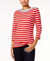 Tommy Hilfiger Esme Striped Embellished Top Only At Macy's Red Anchor