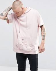 Sixth June Longline Hoodie With Distressing Pink