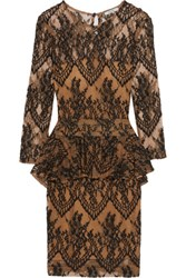 Ganni Lace Peplum Mini Dress Brown