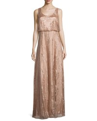 Donna Morgan Natalya Sleeveless Satin Lace Gown Oyster