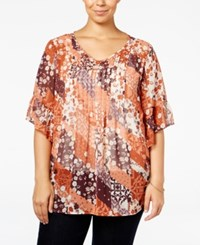 Styleandco. Style Co. Plus Size Printed Pintuck Blouse Only At Macy's Free Spirit Mix