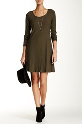 Pink Owl Ribbed Knit Long Sleeve Dress Green