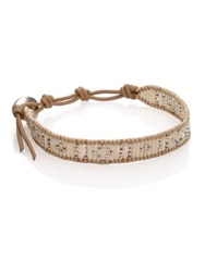 Chan Luu Sterling Silver And Leather Beaded Wrap Bracelet Tan Silver
