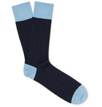 John Smedley Gamma Two Tone Sea Island Cotton Blend Socks Navy