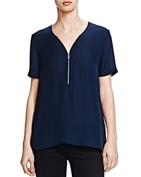 The Kooples Half Zip Silk Tee Navy