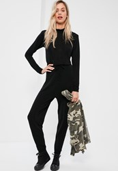 Missguided Black Long Sleeve Lurex Slouch Jumpsuit