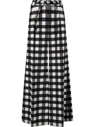 Zac Posen Checked Palazzo Pants Black