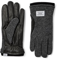Norse Projects Hestra Leather Panelled Knitted Gloves Gray