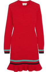 3.1 Phillip Lim Ribbed Knit Stretch Cotton Mini Dress Red