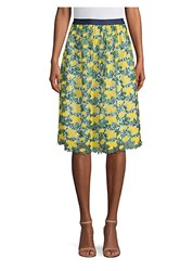 Draper James Embroidered Floral A Line Skirt Vibrant Yellow