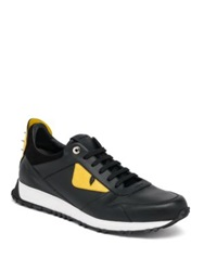Fendi Bugs Leather Athletic Sneakers Black Yellow