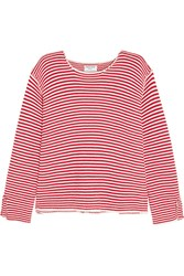 Frame Denim Le Knit Crew Striped Cotton Sweater Red
