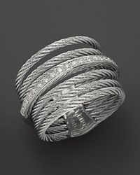 Charriol Classique Collection Nautical Cable Ring .09 Ct. T.W. Gray