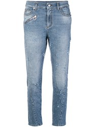 Versace Jeans Distressed Fitted Jeans Blue