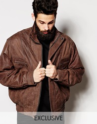 Reclaimed Vintage Leather Bomber Jacket Brown