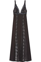 La Perla Secret Story Embroidered Leavers Lace And Tulle Paneled Silk Blend Georgette Nightdress Black