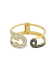 Karl Lagerfeld Safety Pin Crystal Cuff Bracelet Gold
