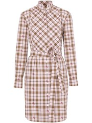 Burberry Ekd Check Cotton Tie Waist Shirt Dress Pink