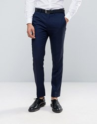 French Connection Textured Navy Tuxedo Slim Fit Suit Trousers Navy