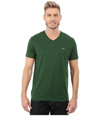 Lacoste Short Sleeve V Neck Pima Jersey Tee Shirt Appalachan Green Men's T Shirt