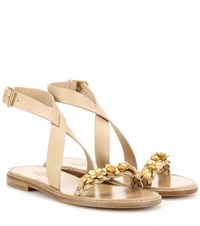 Valentino Embellished Leather Sandals Beige