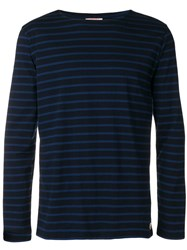 Armor Lux Striped Print Long Sleeve Top Blue
