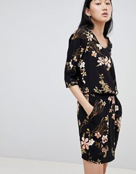 B.Young Floral Cowl Neck Dress Black
