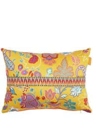 Etro Mijas Cotton And Linen Pillow With Band Yellow