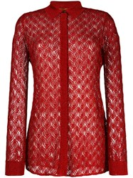 Missoni Sheer Knitted Shirt Red