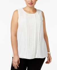 Charter Club Plus Size Lace Front Tank Only At Macy's Vintage Cream