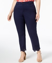 Charter Club Plus Size Eyelet Trim Ankle Jeans Intrepid Blue