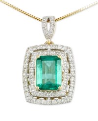 Rare Featuring Gemfield's Rare Featuring Gemfields Certified Emerald 1 1 5 Ct. T.W. And Diamond 1 4 Ct. T.W. Pendant Necklace In 14K Gold