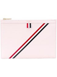 Thom Browne Diagonal Stripe Small Leather Tablet Holder Pink And Purple