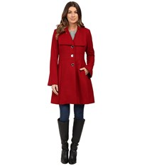 Jessica Simpson Melton Bell Sleeve With Waist Detail Red Women's Coat