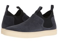 Z Zegna Scuba Pull On Suede Sneaker Dark Blue Black Men's Shoes