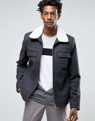 Kiomi Wool Bomber Jacket With Borg Collar Grey Melange