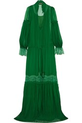 Roberto Cavalli Lace Trimmed Plisse Silk Chiffon Gown Emerald