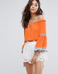 Kiss The Sky Off Shoulder Top With Festival Tassel Trim Orange