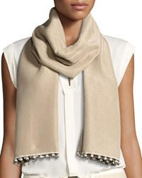 Bajra Reversible Metallic Pompom Scarf Light Gray