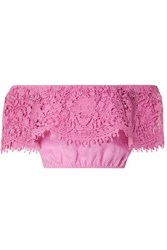 Miguelina Dakota Cropped Off The Shoulder Guipure Lace Trimmed Linen Top Pink