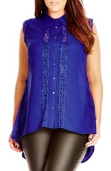 City Chic Plus Size Women's 'Pretty Lace' Sleeveless High Low Shirt Marine