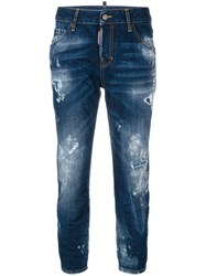 Dsquared2 Cropped Cool Girl Jeans Women Cotton Calf Leather Polyester 44 Blue