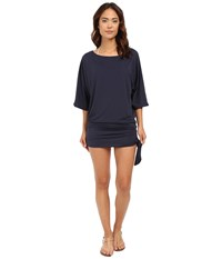 Michael Michael Kors Chain Solids Side Tie Cover Up New Navy Women's Swimwear